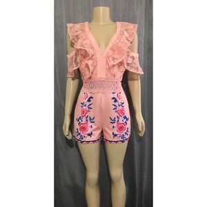 Pants - PINK ROSE LACE COLD SHOULDER ROMPER